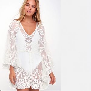 White Lace Swim Cover Up Drawstring Waist V Neck